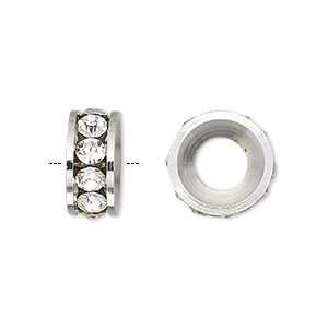 bead, dione, czech crystal and silver-plated brass, crystal clear, 14x6mm rondelle with 7mm hole. sold per pkg of 2.