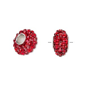 bead, dione, czech glass rhinestone / epoxy / imitation rhodium-plated brass grommet, red, 13x8mm-14x8mm rondelle, 4.5mm hole. sold individually.