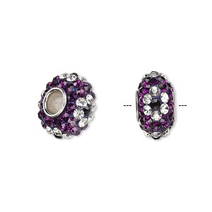 bead, dione, czech glass rhinestone / epoxy / imitation rhodium-plated brass grommet, purple / clear / black, 13x8mm-14x8mm rondelle with flower design, 4.5mm hole. sold individually.