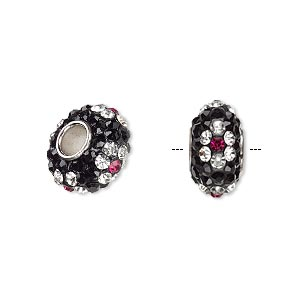 bead, dione, czech glass rhinestone / epoxy / imitation rhodium-plated brass grommet, black / clear / pink, 13x8mm-14x8mm rondelle with flower design, 4.5mm hole. sold individually.