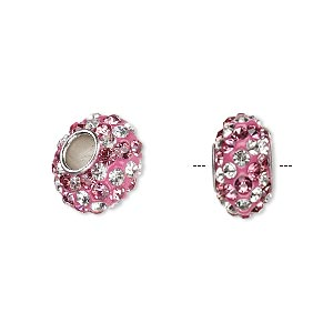 bead, dione, czech glass rhinestone / epoxy / imitation rhodium-plated brass grommet, light pink and clear, 13x8mm-14x8mm rondelle with spiral design, 4.5mm hole. sold individually.