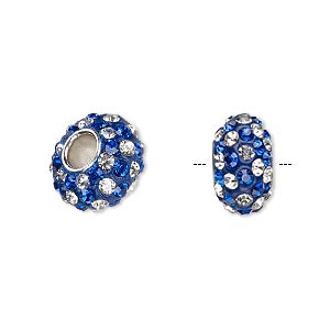 bead, dione, czech glass rhinestone / epoxy / imitation rhodium-plated brass grommet, blue and clear, 13x8mm-14x8mm rondelle with spiral design, 4.5mm hole. sold individually.
