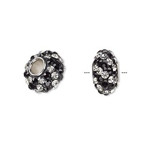 bead, dione, czech glass rhinestone / epoxy / imitation rhodium-plated brass grommet, black and clear, 13x8mm-14x8mm rondelle with spiral design, 4.5mm hole. sold individually.