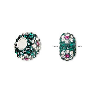 bead, dione, czech glass rhinestone / epoxy / sterling silver grommets, green / clear / pink, 14x8mm rondelle with flower design, 4.5mm hole. sold individually.