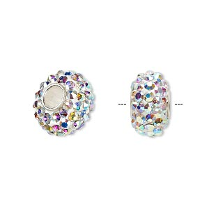 bead, dione, czech glass rhinestone / epoxy / sterling silver grommets, white and clear ab, 14x8mm rondelle, 4.5mm hole. sold individually.