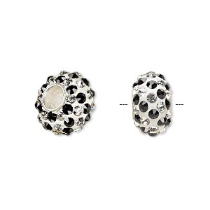 bead, dione, czech glass rhinestone / epoxy / sterling silver grommets, white / clear / black, 14x8mm rondelle with spiral design, 4.5mm hole. sold individually.