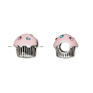 bead, dione, enamel / glass rhinestone / antique silver-plated pewter (tin-based alloy), pink and multicolored, 11x11mm cupcake with 5mm hole. sold individually.