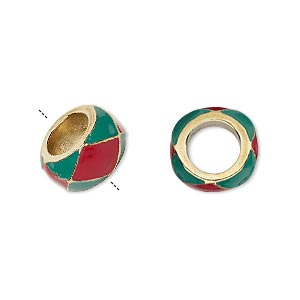 bead, dione, enamel and gold-finished pewter (zinc-based alloy), opaque red and green, 13x7mm rondelle with 7mm hole. sold individually.