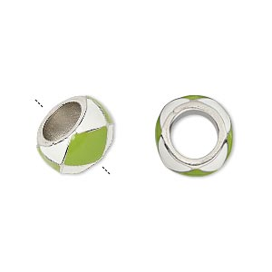 bead, dione, enamel and imitation rhodium-finished pewter (zinc-based alloy), opaque lime green and white, 13x7mm rondelle with 7mm hole. sold individually.