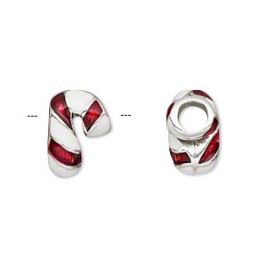 bead, dione, enamel and silver-plated pewter (tin-based alloy), red and white, 15x10mm double-sided striped candy cane, 5mm hole. sold individually.