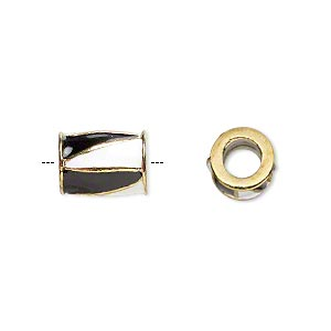bead, dione, gold-finished pewter (zinc-based alloy) and enamel, opaque black and white, 12x9mm barrel with triangle design, 5mm hole. sold individually.