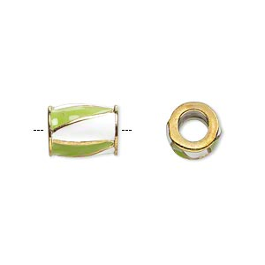 bead, dione, gold-finished pewter (zinc-based alloy) and enamel, opaque lime green and white, 12x9mm barrel with triangle design, 5mm hole. sold individually.