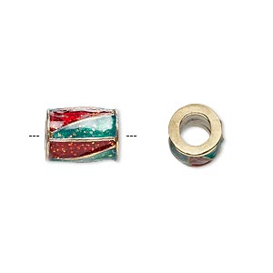 bead, dione, gold-finished pewter (zinc-based alloy) and enamel, transparent red and green with glitter, 12x9mm barrel with triangle design, 5mm hole. sold individually.