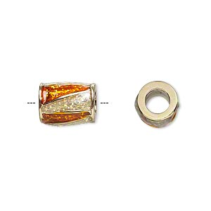 bead, dione, gold-finished pewter (zinc-based alloy) and enamel, transparent orange and clear with glitter, 12x9mm barrel with triangle design, 5mm hole. sold individually.