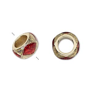 bead, dione, gold-finished pewter (zinc-based alloy)/epoxy/enamel, transparent red and clear with glitter, 13x7mm rondelle with diamond design, 7mm hole. sold individually.