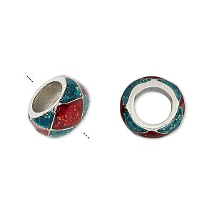 bead, dione, imitation rhodium-finished pewter (zinc-based alloy)/epoxy/enamel, transparent red and green with glitter, 13x7mm rondelle with diamond design, 7mm hole. sold individually.