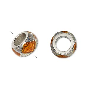 bead, dione, imitation rhodium-finished pewter (zinc-based alloy)/epoxy/enamel, transparent orange and clear with glitter, 13x7mm rondelle with diamond design, 7mm hole. sold individually.