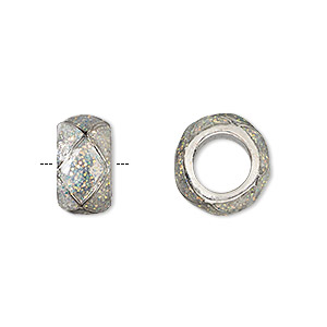 bead, dione, imitation rhodium-finished pewter (zinc-based alloy)/epoxy/enamel, transparent clear with glitter, 13x7mm rondelle with diamond design, 7mm hole. sold individually.