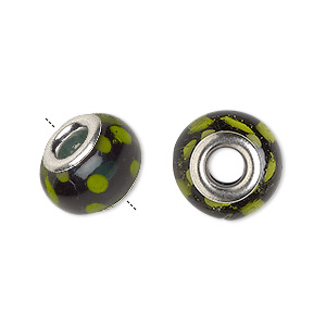 bead, dione, lampworked glass and silver-plated brass grommets, opaque and semitransparent green and yellow, 14x9mm rondelle with dots, 4.5-5mm hole. sold per pkg of 6.