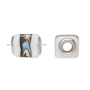 bead, dione, lampworked glass and silver-plated brass grommets, opaque multicolored, 14x12mm cube, 5mm hole. sold per pkg of 6.