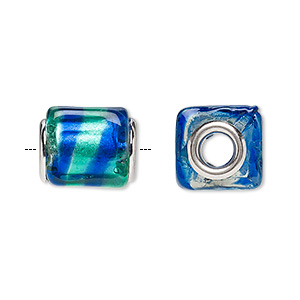 bead, dione, lampworked glass and silver-plated brass grommets, translucent teal green and light blue with silver-colored foil, 14x12mm cube with stripe, 5mm hole. sold per pkg of 4.