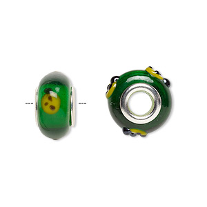 bead, dione, lampworked glass and white brass grommets, yellow / black / transparent green, 15x8mm rondelle with ladybug, 4.5mm hole. sold individually.
