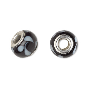 bead, dione, lampworked glass with silver-plated brass grommets, opaque black and white, 14x9mm rondelle with swirls and 4.5-5mm hole. sold per pkg of 6.