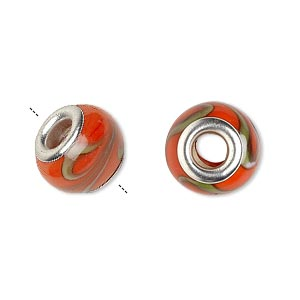 bead, dione, lampworked glass with silver-plated brass grommets, opaque orange with green, 14x9mm rondelle with swirls and 4.5-5mm hole. sold per pkg of 6.