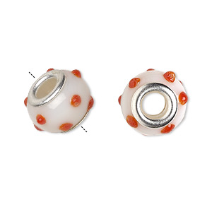 bead, dione, lampworked glass with silver-plated brass grommets, opaque white and orange, 14x9mm bumpy rondelle with dots and 4.5-5mm hole. sold per pkg of 6.