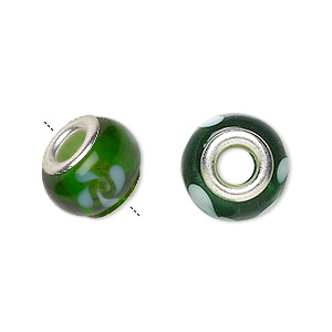 bead, dione, lampworked glass with silver-plated brass grommets, semitransparent green and white, 14x9mm rondelle with swirls and 4.5-5mm hole. sold per pkg of 6.