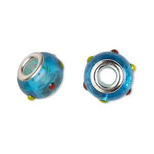 bead, dione, lampworked glass with silver-plated brass grommets, semitransparent aqua blue/red/yellow, 14x9mm rondelle with bumpy dots and 4.5-5mm hole. sold per pkg of 6.
