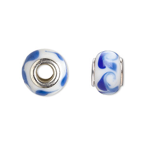 bead, dione, lampworked glass with silver-plated steel grommets, white with blue swirls, 14x10mm rondelle with 4.5-5mm hole. sold per pkg of 6.