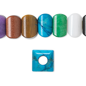 bead, dione, multi-gemstone (natural / dyed / heated / manmade) and glass, multicolored, 12x12mm square with 5mm hole, b grade. sold per pkg of 10.