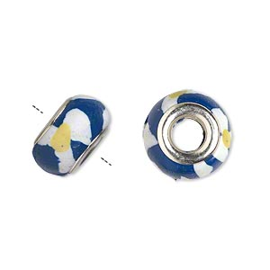 bead, dione, polymer clay and silver-plated brass grommets, white/blue/yellow, 14x8mm rondelle with flower design and 5mm hole. sold per pkg of 6.