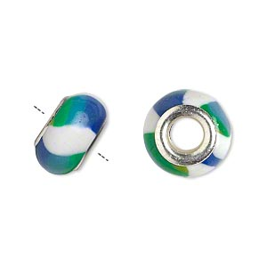 bead, dione, polymer clay and silver-plated brass grommets, white/green/blue, 14x8mm rondelle with striped design and 5mm hole. sold per pkg of 6.