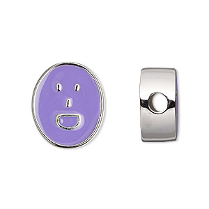 bead, dione, silver-finished pewter (zinc-based alloy) and enamel, light purple, 18x16mm double-sided flat oval with laughing emoticon face, 4mm hole. sold individually.