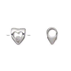 bead, dione, sterling silver and cubic zirconia, clear, 10x8.5mm double-sided open heart with 4.5-5mm hole. sold individually.