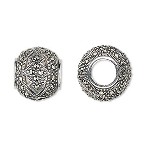 bead, dione, sterling silver and marcasite, 17x14mm rondelle with 7mm hole. sold individually.