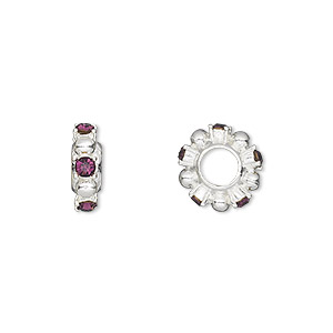 bead, dione, swarovski crystals and silver-plated pewter (tin-based alloy), amethyst, 12x4mm beaded rondelle with 2mm faceted round, 5mm hole. sold individually.