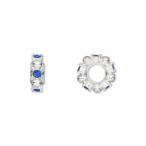 bead, dione, swarovski crystals and silver-plated pewter (tin-based alloy), sapphire, 12x4mm beaded rondelle with 2mm faceted round, 5mm hole. sold individually.