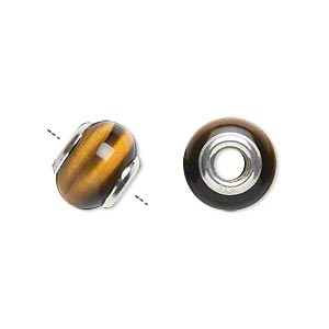 bead, dione, tigereye (natural) and sterling silver grommets, 11x8mm-13x9mm rondelle with 4mm hole, b grade, mohs hardness 7. sold individually.