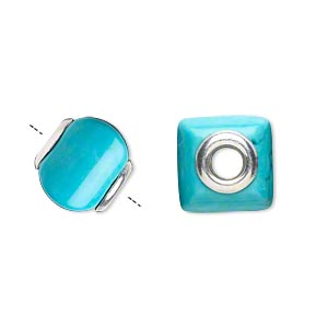 bead, dione, turquoise (imitation) and sterling silver grommets, 11x10mm-13x11mm square rondelle with 4mm hole. sold individually.