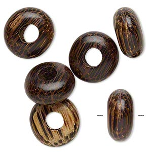 bead, dione, wood (waxed), tan and dark brown, 14x7mm hand-cut rondelle with 5-5.5mm hole. sold per pkg of 6.