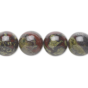 bead, dragon blood jasper (natural), 12mm round, b grade, mohs hardness 6-1/2 to 7. sold per 16-inch strand.