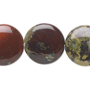 bead, dragon blood jasper (natural), 20mm flat round, b grade, mohs hardness 6-1/2 to 7. sold per 16-inch strand.