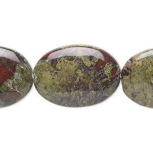 bead, dragon blood jasper (natural), 25x18mm flat oval, b grade, mohs hardness 6-1/2 to 7. sold per 16-inch strand.
