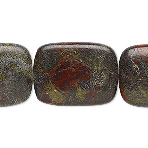 bead, dragon blood jasper (natural), 40x30mm rectangle, b grade, mohs hardness 6-1/2 to 7. sold per 16-inch strand.