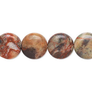 bead, dream jasper (natural), 12mm flat round, b grade, mohs hardness 7. sold per 8-inch strand.