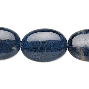 bead, dumortierite (natural), 25x18mm puffed oval, b grade, mohs hardness 7. sold per 8-inch strand.