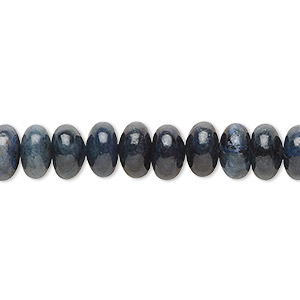 bead, dumortierite (natural), 8x4mm rondelle, b grade, mohs hardness 7. sold per 16-inch strand.